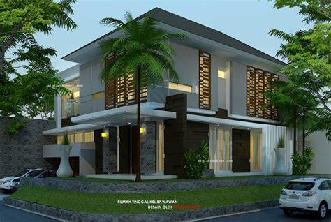 desain rumah hook mewah desain rumah pojok semy basement modern tropis 2 lantai
