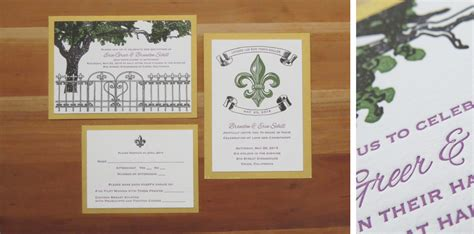 new orleans style wedding invitations weddings just my type letterpress