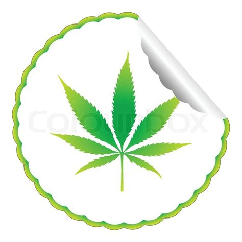 Ganja Abstact cannabis leaf label against white background abstract