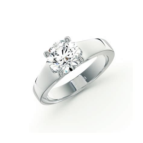 tapered solitaire ring in 14k white gold