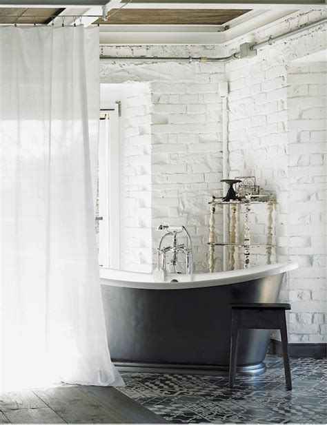 elle decor bathrooms exposed brick walls eclectic bathroom elle decor