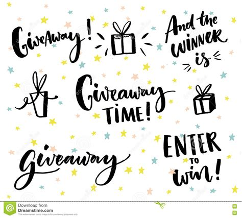 Giveaway Design - giveaway text and design elements set of handwritten lettering and hand drawn gifts