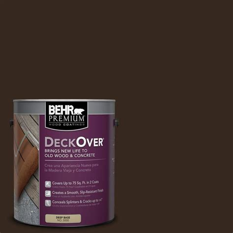 behr premium deckover 1 gal sc 105 padre brown wood and concrete coating 500001 the home depot