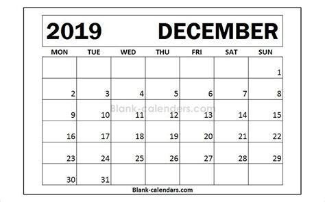 december  calendar monday start design blank