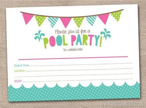 printable girl birthday decorations girls pool party printable invitation fill by
