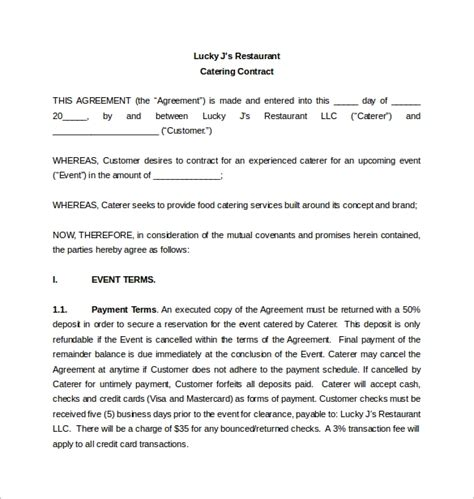 15 Sle Catering Contract Templates Pdf Word Apple Pages Sle Templates Catering Contract Template