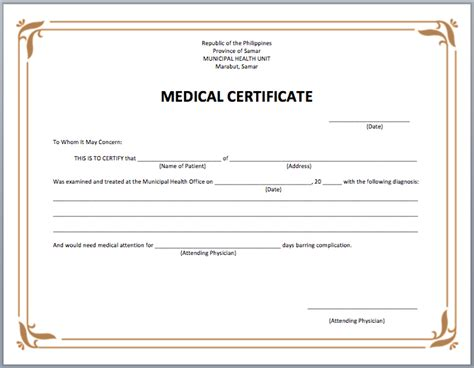 search results for template medical certificate