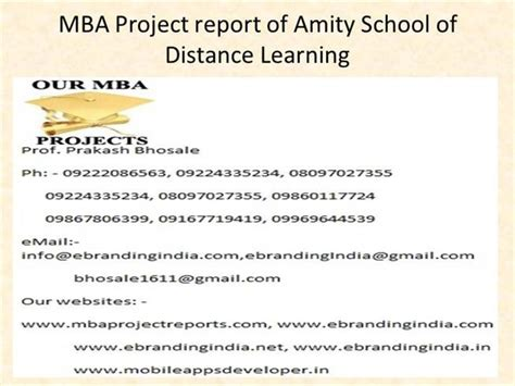 Mba Degree Distance Learning by Mba Project Report Of Amity School Of Distance Learning
