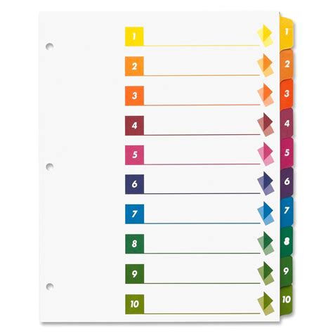 Avery 10 Tab Color Template The Hakkinen Avery 10 Tab Color Template