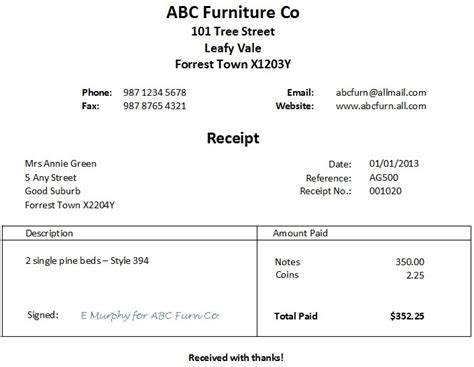 receipts template for word free word receipt template