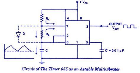 circuit diagram of astable multivibrator 555 timer as an astable multivibrator electronic