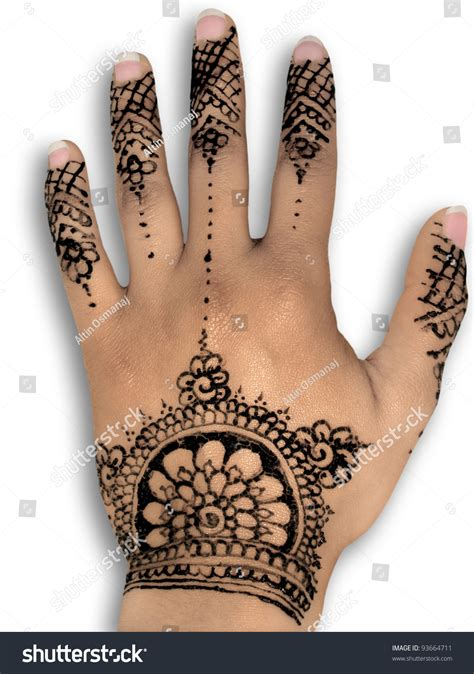 white henna tattoo art henna white background stock photo