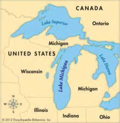 Michigan Great Lakes Map pics photos lake canada map michigan lakes great lakes