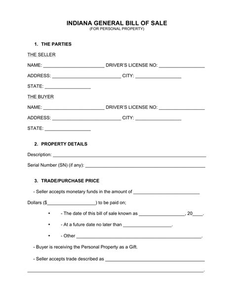 Free Indiana Property Records Free Indiana General Bill Of Sale Form Word Pdf