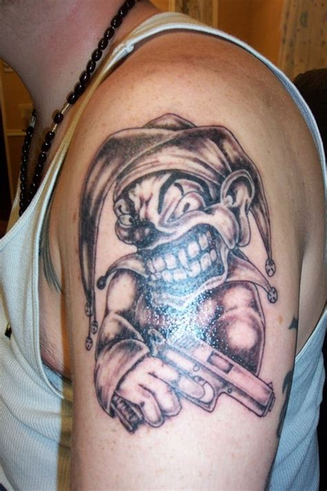 joker tattoo sleeve designs gangsta joker on biceps tattoos book 65 000