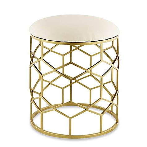 white and gold vanity chair buy taymor 174 vanity stool in gold from bed bath beyond