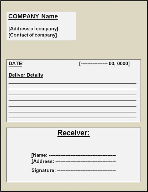 Delivery Receipt Template Delivery Receipt Template Free Word Templates