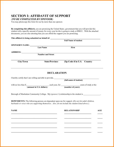 33 Printable Affidavit Form Template Exles Thogati Business Affidavit Template
