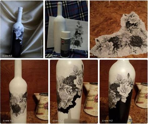 tutorial decoupage en vidrio botella pintura blanca aerosol negro tela con estado en