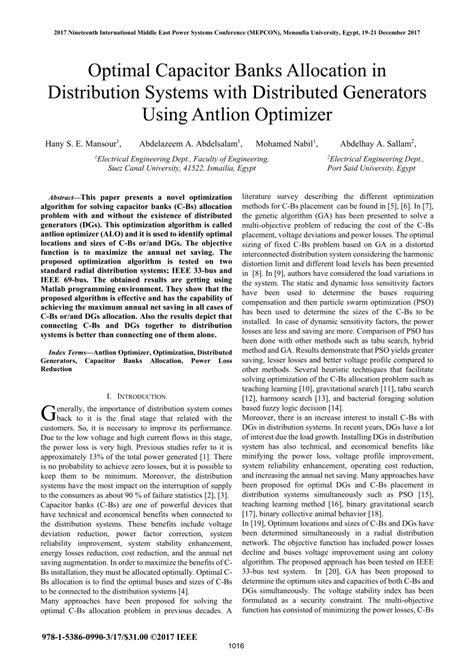 (PDF) Optimal capacitor banks allocation in distribution