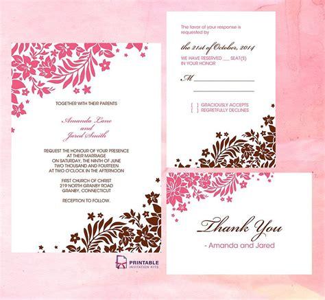 printable wedding invitation kits uk pink and brown foliage wedding invitation invitation