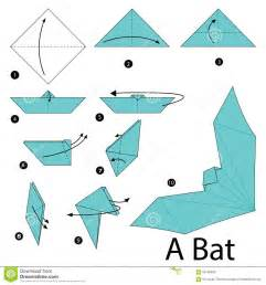 Steps To Make Origami Animals - step by step how to make origami a bat stock
