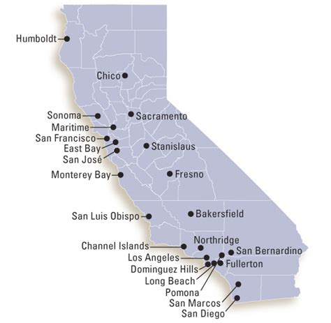 map of colleges in southern california csu cus map