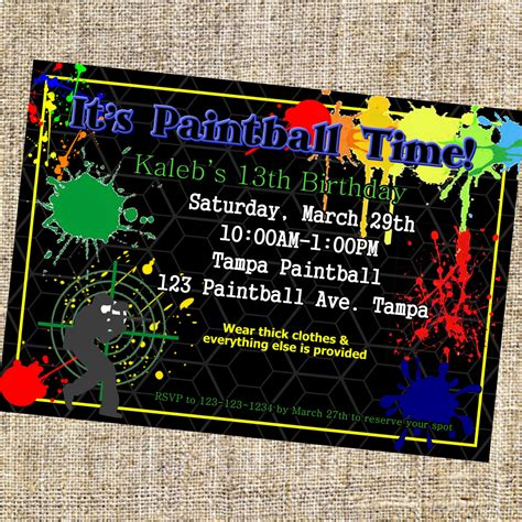 printable birthday invitations paintball 8 best images of paintball invitations print your own