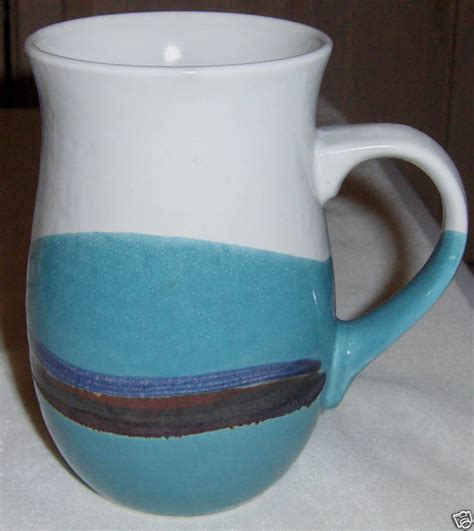 beautiful coffee cups beautiful stoneware coffee mug white aqua brown blue ebay
