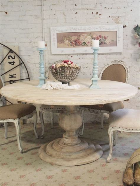 Painted Cottage Chic Shabby French Linen Round by