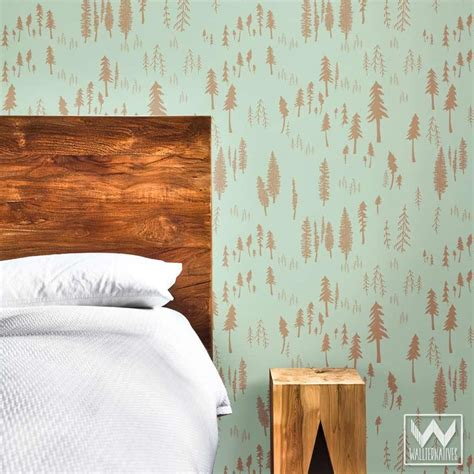 modern forest pattern on removable wallpaper from bonnie christine wallternatives
