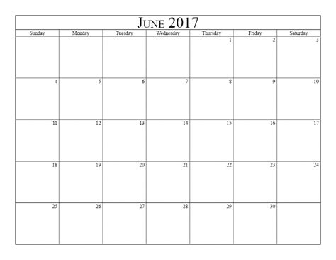Calendar June June 2017 Calendar Template Printable