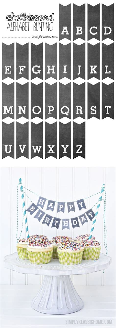 printable birthday cake banner template printable chalkboard letters cake bunting first day of