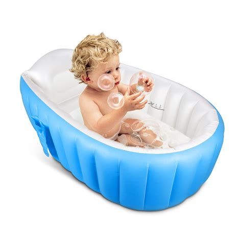 kid bathtub new thick inflatable portable travel compact toddler infant kids baby bath tub ebay