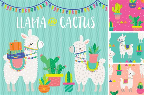 cute llama pattern llama and cactus clipart patterns by dillypeach designs