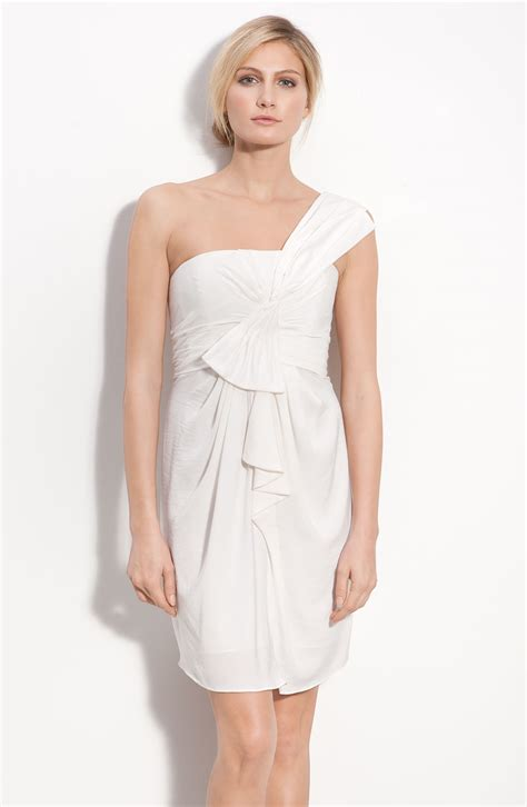 drape dress with one shoulder bcbgmaxazria drape front one shoulder satin dress in white