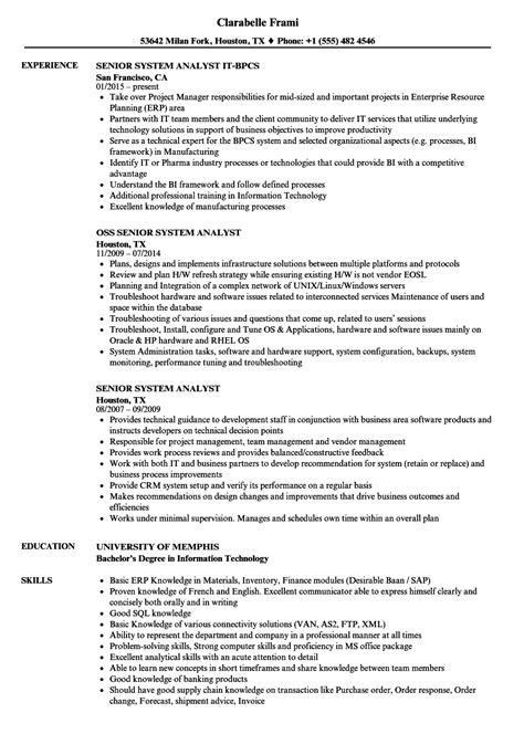 Resume Senior Systems Analyst by Senior System Analyst Resume Sles Velvet