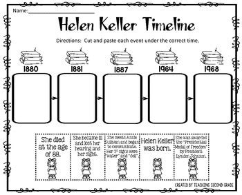 helen keller biography activities helen keller timeline cut and paste freebie i am pleased