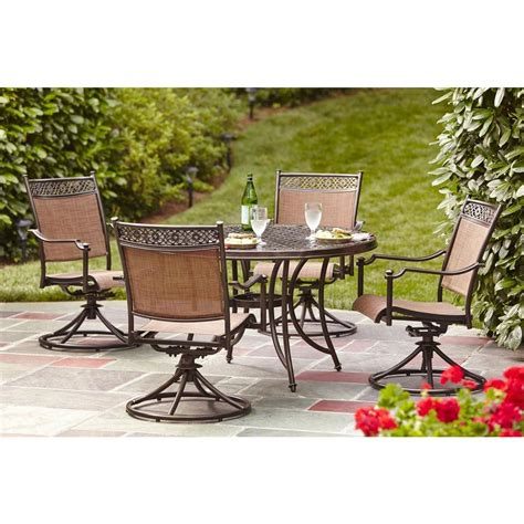 Hton Bay Niles Park 5 Piece Sling Patio Dining Set S5 Patio Dining Sets Home Depot