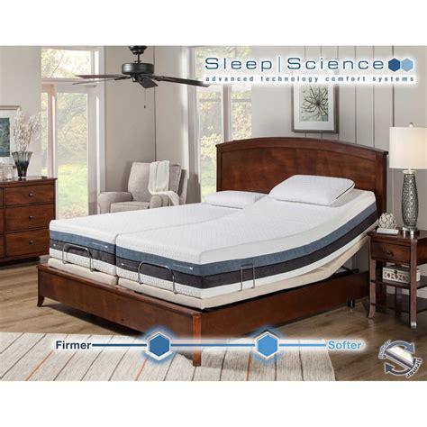sleep science 12 iflip sonoma split king dual comfort memory foam mattress with adjustable