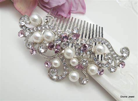 Vintage Purple Wedding Hair Accessories by Bridal Purple Swarovski Pearl Wedding Comb Wedding