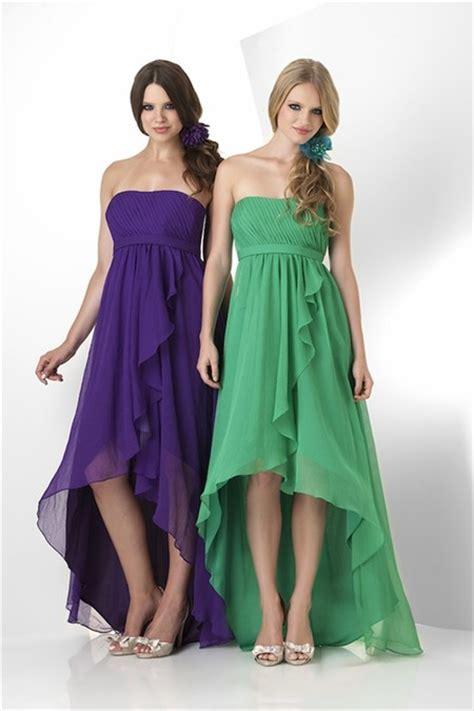 high low strapless green chiffon ruffle bridesmaid