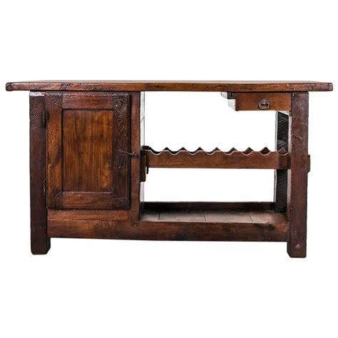 sofa table with wine rack rustic antique french carpenter s work bench or console