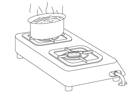 water pot coloring page stove black and white clipart clipart suggest