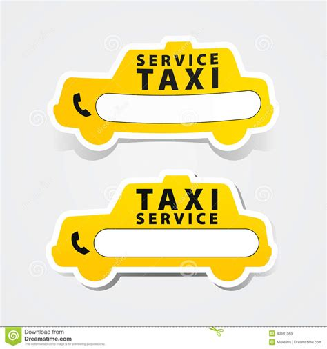 Comfort Taxi Number Call by Taxi Service Sticker Form Sign Phone Stock Vector Image