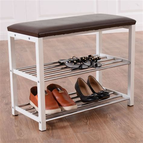 Bench Shoe Rack by 3 Tier Storage Shoe Rack With Seating Bench Shelf Entrance
