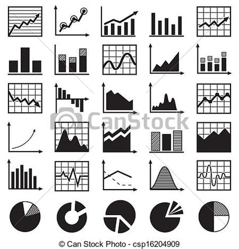 graph and diagram icon set stock vector illustration of vector clipart of set of diagrams and graphs vector