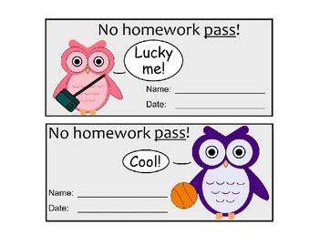 1000 images about homework pass on pinterest printable
