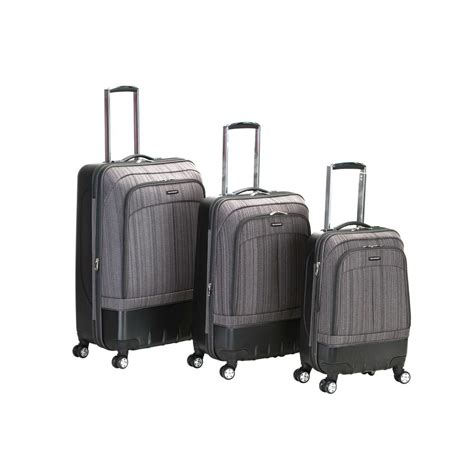 rockland 3 milan hybrid abs luggage set f136