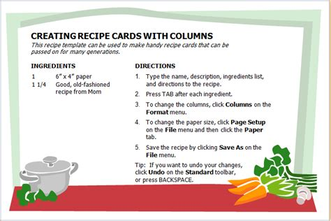 ms word recipe book sle template word document templates
